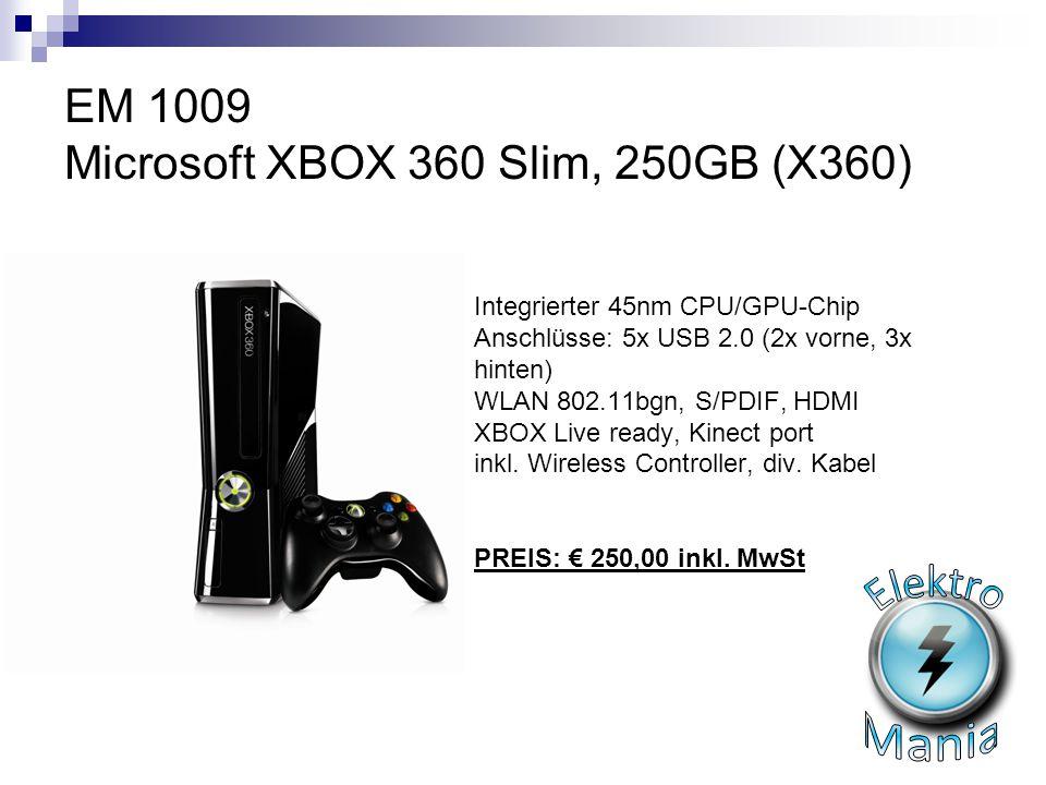 EM 1009 Microsoft XBOX 360 Slim, 250GB (X360)