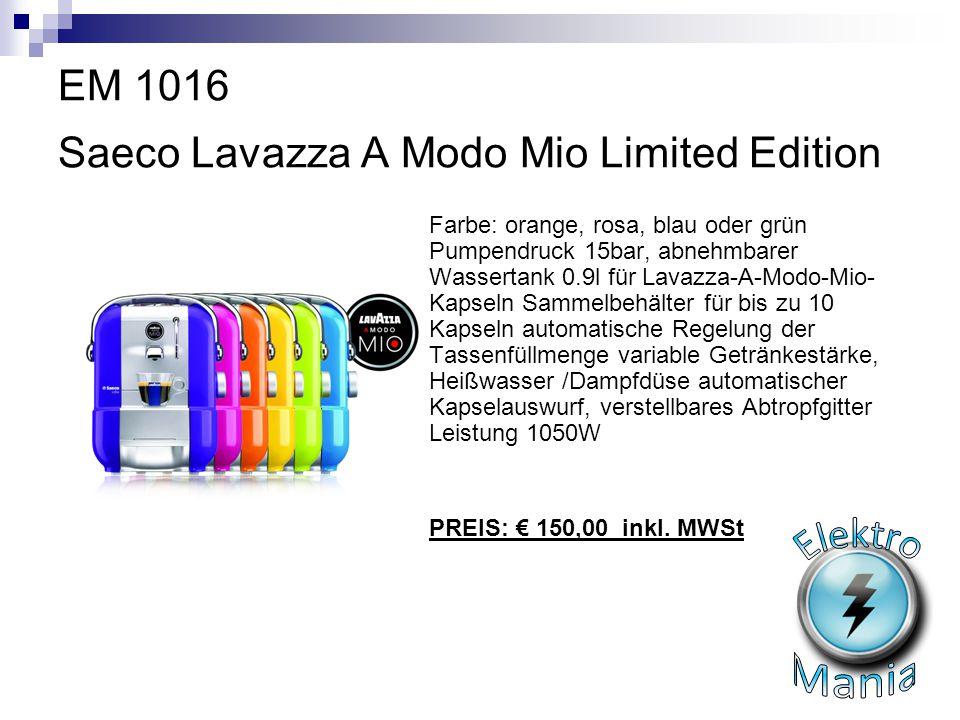 EM 1016 Saeco Lavazza A Modo Mio Limited Edition