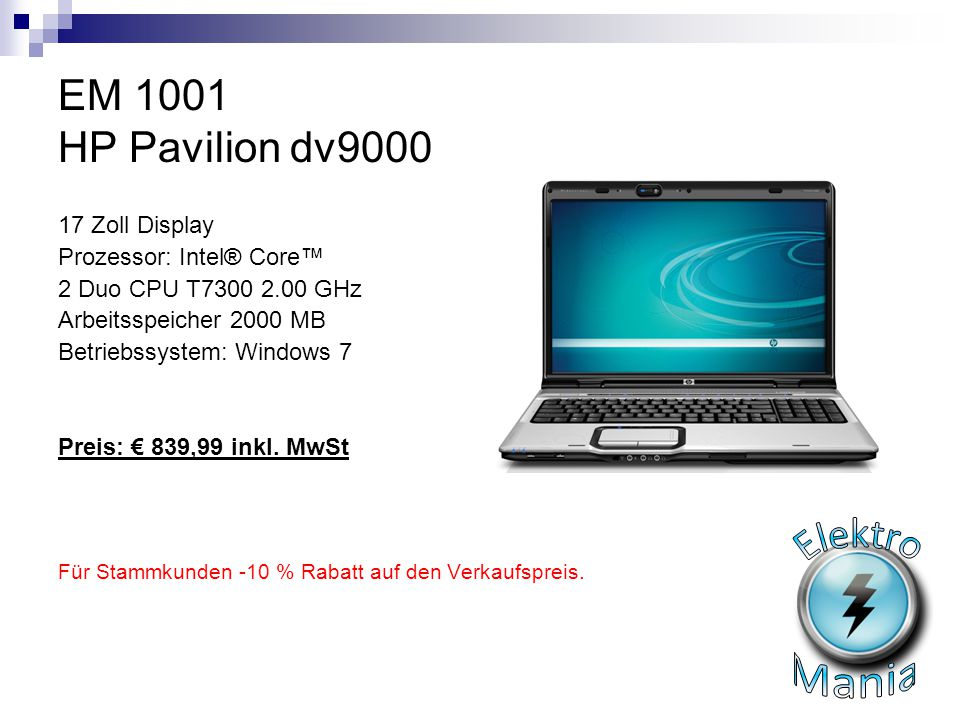 Elektro Mania EM 1001 HP Pavilion dv9000 17 Zoll Display