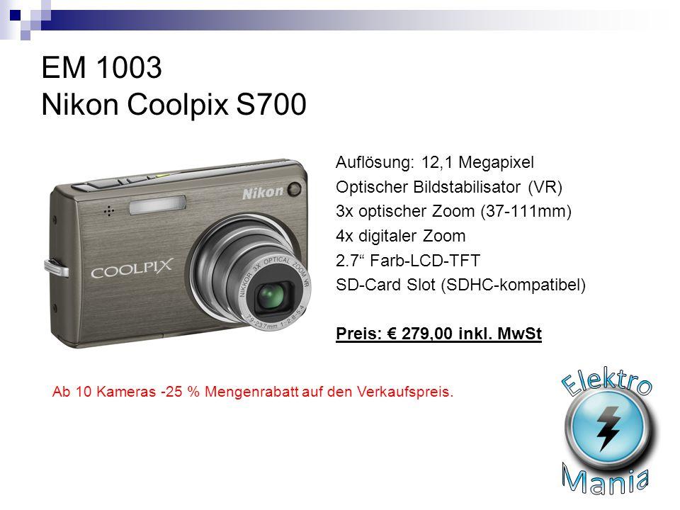 Elektro Mania EM 1003 Nikon Coolpix S700 Auflösung: 12,1 Megapixel