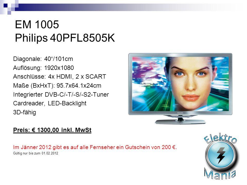 Elektro Mania EM 1005 Philips 40PFL8505K Diagonale: 40 /101cm