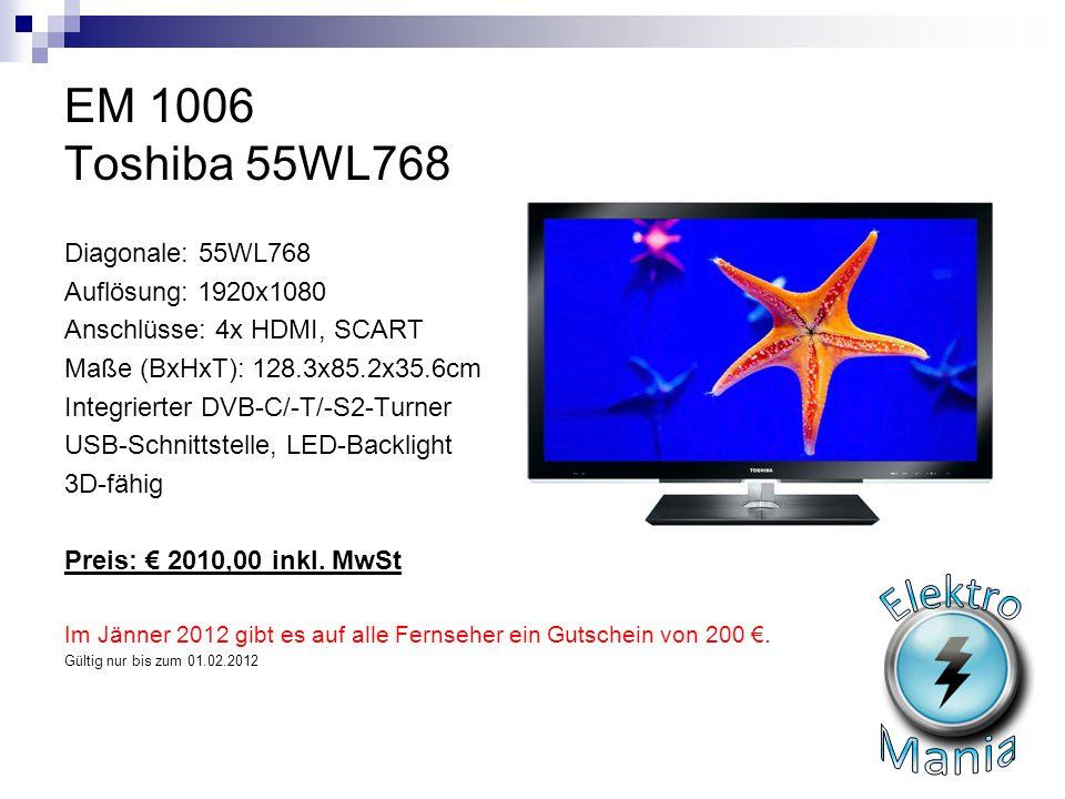 Elektro Mania EM 1006 Toshiba 55WL768 Diagonale: 55WL768