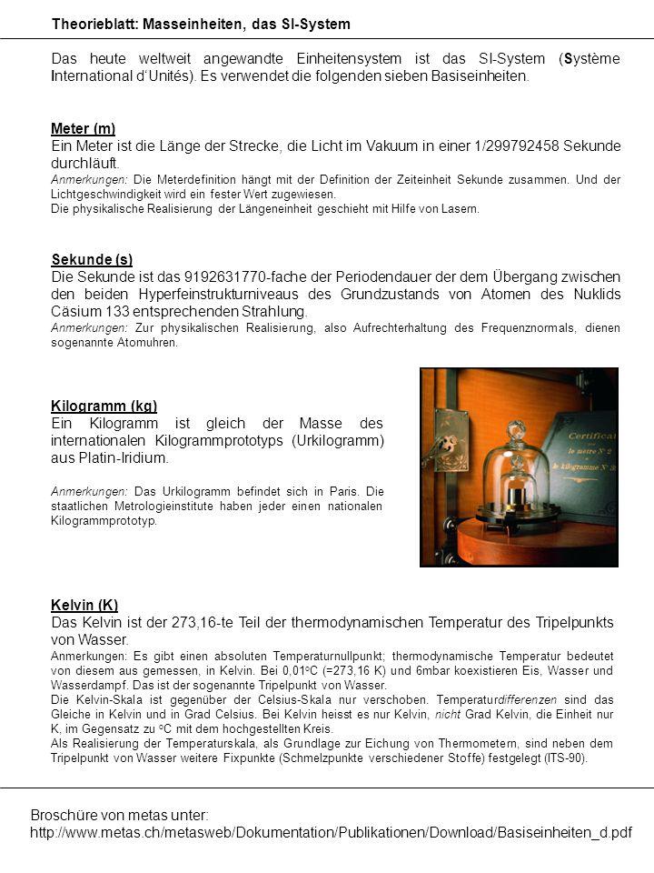 Theorieblatt: Masseinheiten, das SI-System