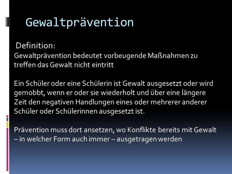 Gewaltprävention Definition: