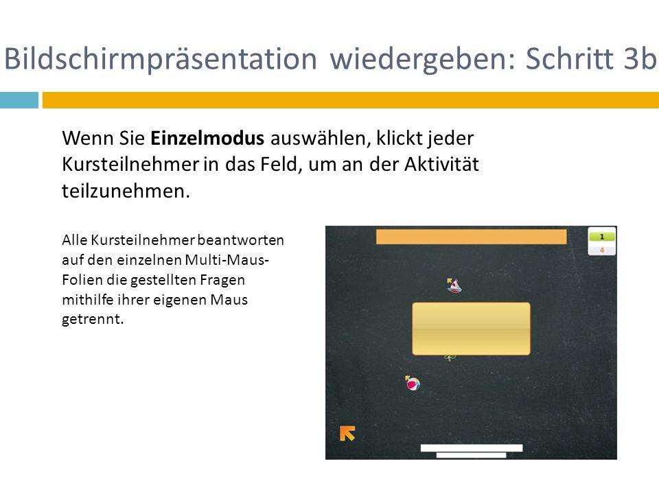 Bildschirmpräsentation wiedergeben: Schritt 3b