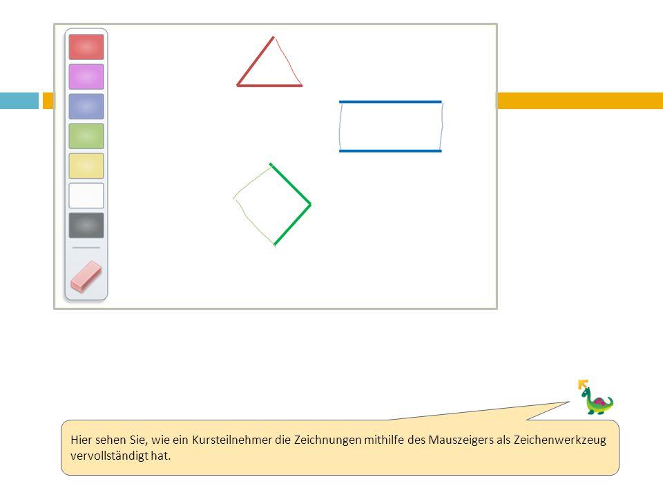 Hier sehen Sie, wie ein Kursteilnehmer die Zeichnungen mithilfe des Mauszeigers als Zeichenwerkzeug vervollständigt hat.