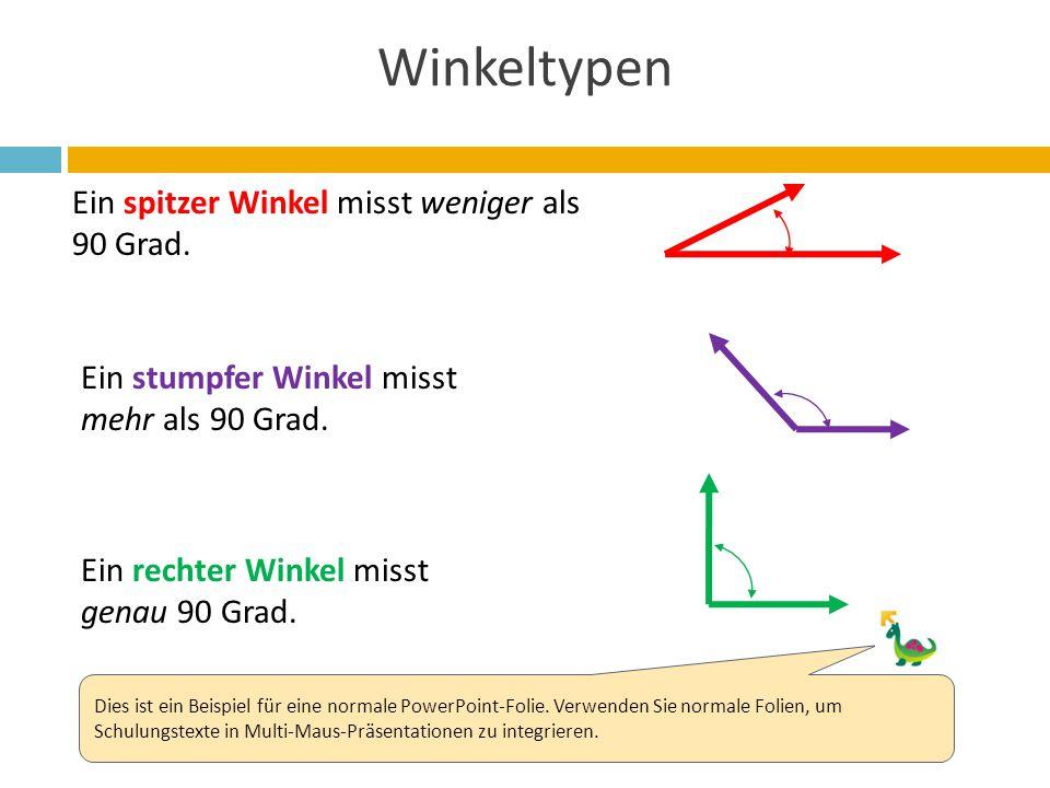 Winkeltypen Ein spitzer Winkel misst weniger als 90 Grad.