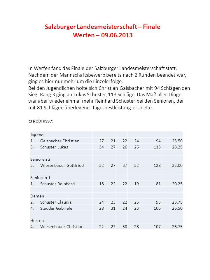 Salzburger Landesmeisterschaft – Finale Werfen – 09.06.2013