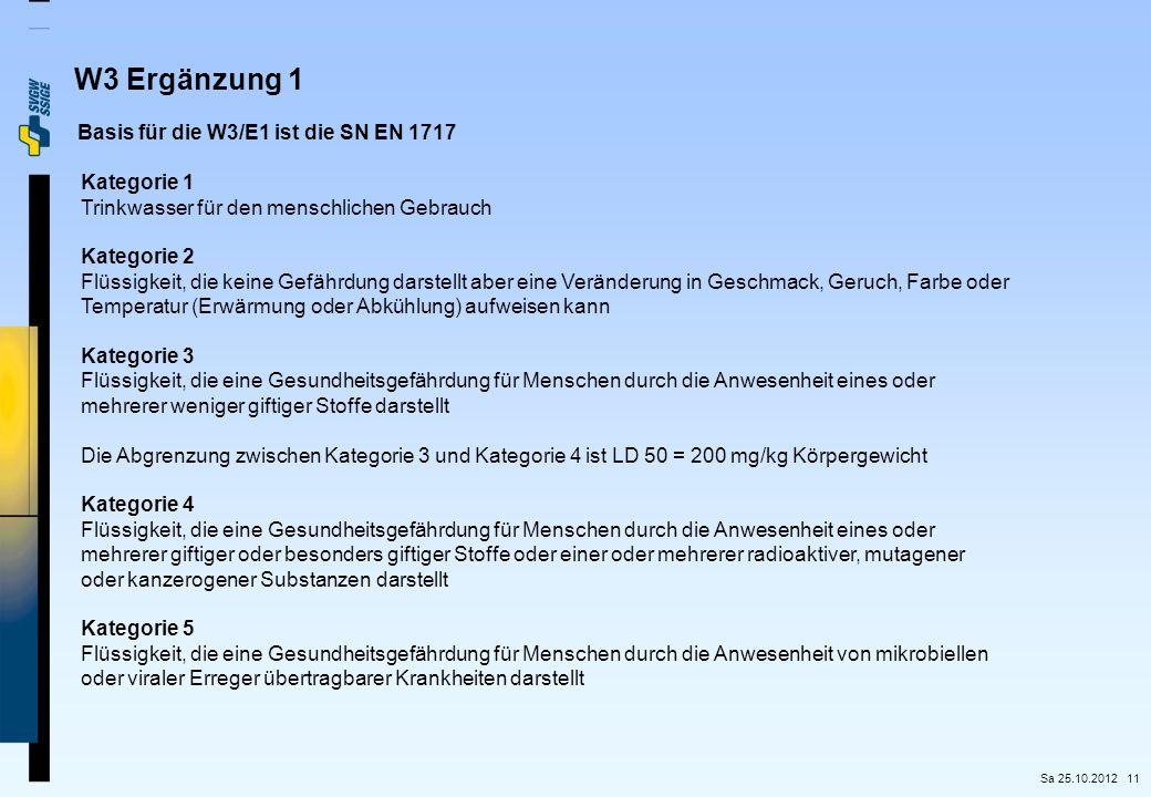 W3 Ergänzung 1 Basis für die W3/E1 ist die SN EN 1717 Kategorie 1
