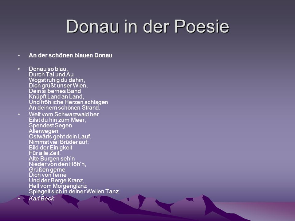Donau in der Poesie An der schönen blauen Donau