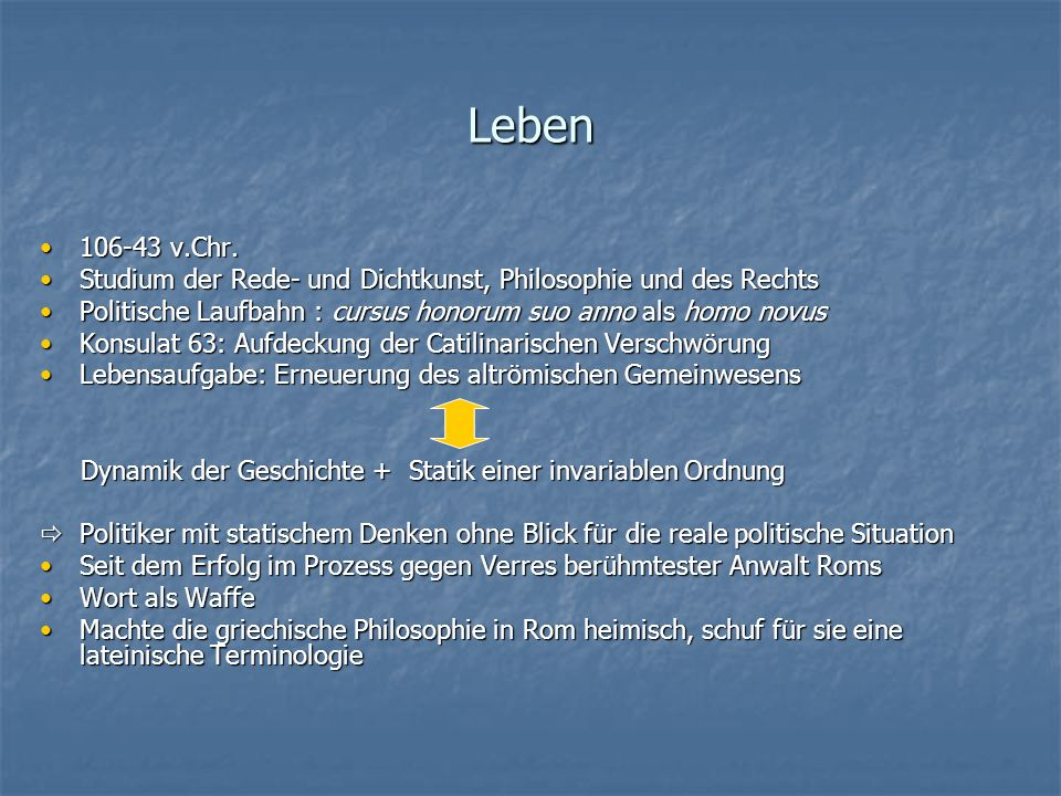 Leben 106-43 v.Chr. Studium der Rede- und Dichtkunst, Philosophie und des Rechts. Politische Laufbahn : cursus honorum suo anno als homo novus.