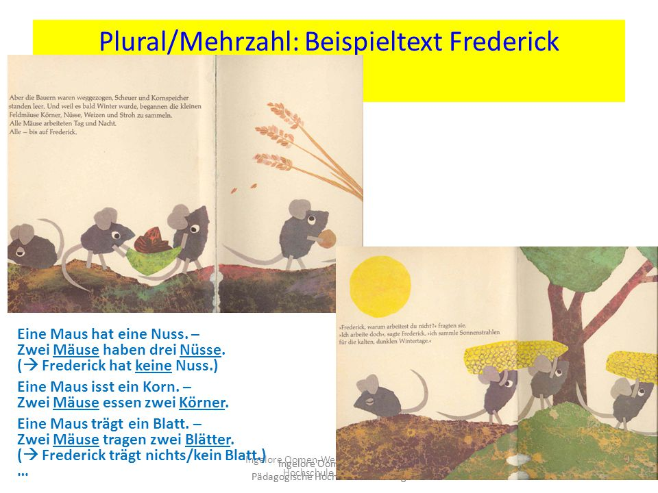 Plural/Mehrzahl: Beispieltext Frederick