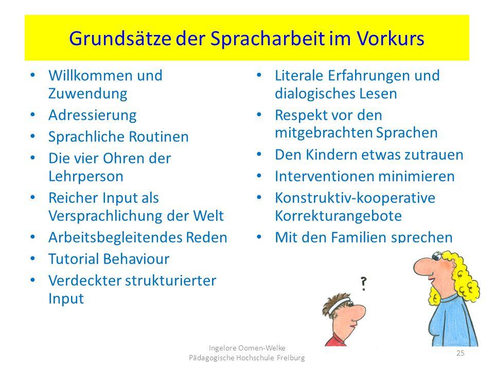 Grundsätze der Spracharbeit im Vorkurs