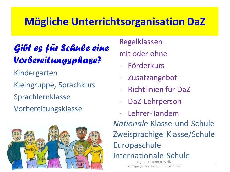 Mögliche Unterrichtsorganisation DaZ