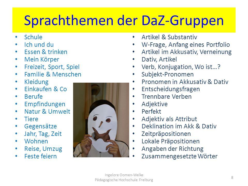 Sprachthemen der DaZ-Gruppen