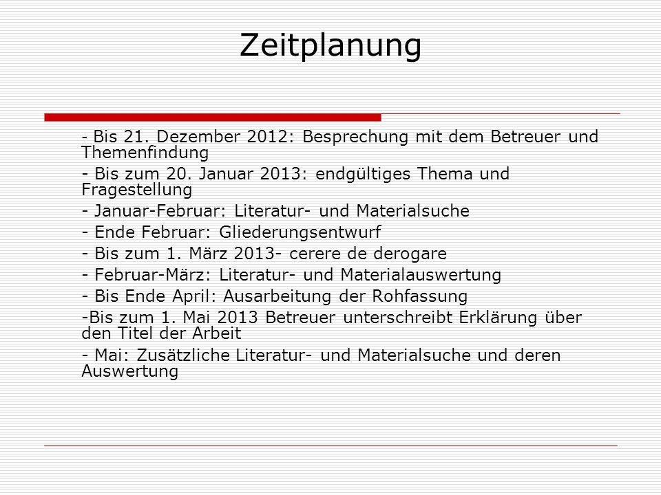Zeitplanung - Bis 21. Dezember 2012: Besprechung mit dem Betreuer und Themenfindung.