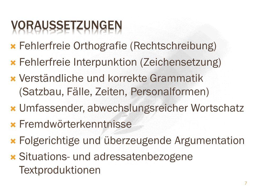 Voraussetzungen Fehlerfreie Orthografie (Rechtschreibung)