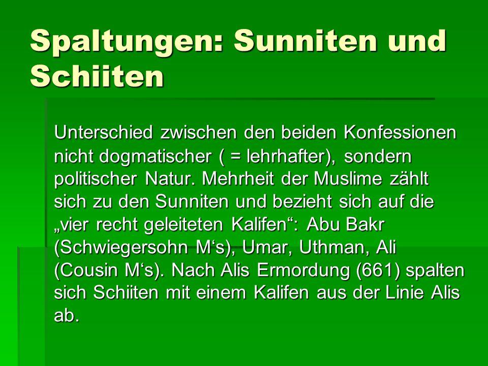 Spaltungen: Sunniten und Schiiten