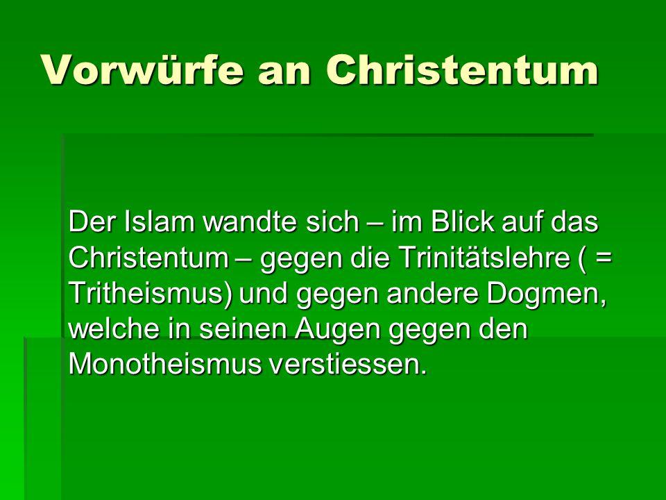 Vorwürfe an Christentum