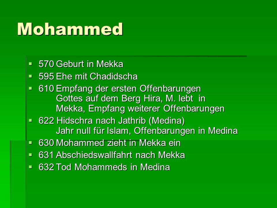 Mohammed 570 Geburt in Mekka 595 Ehe mit Chadidscha