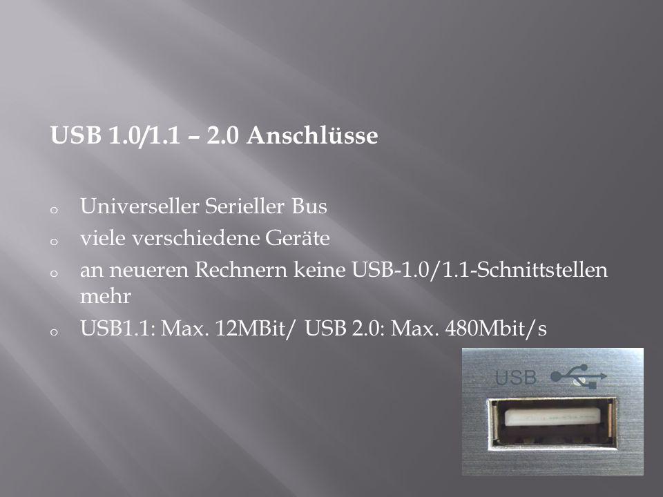 USB 1.0/1.1 – 2.0 Anschlüsse Universeller Serieller Bus