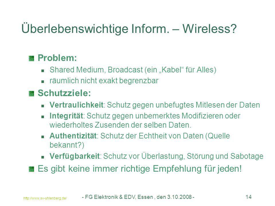 Überlebenswichtige Inform. – Wireless