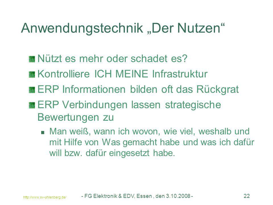 """Anwendungstechnik """"Der Nutzen"""