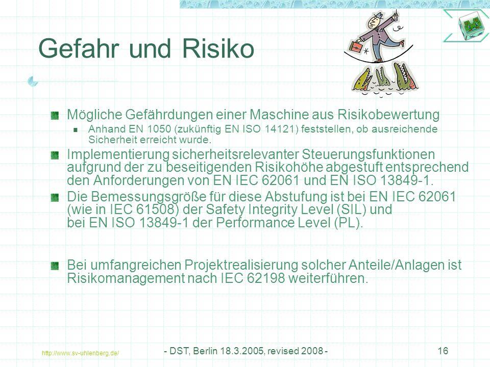 Gefahr und Risiko Mögliche Gefährdungen einer Maschine aus Risikobewertung.