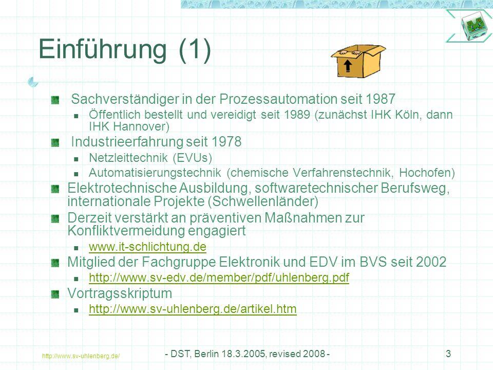 Einführung (1) Sachverständiger in der Prozessautomation seit 1987