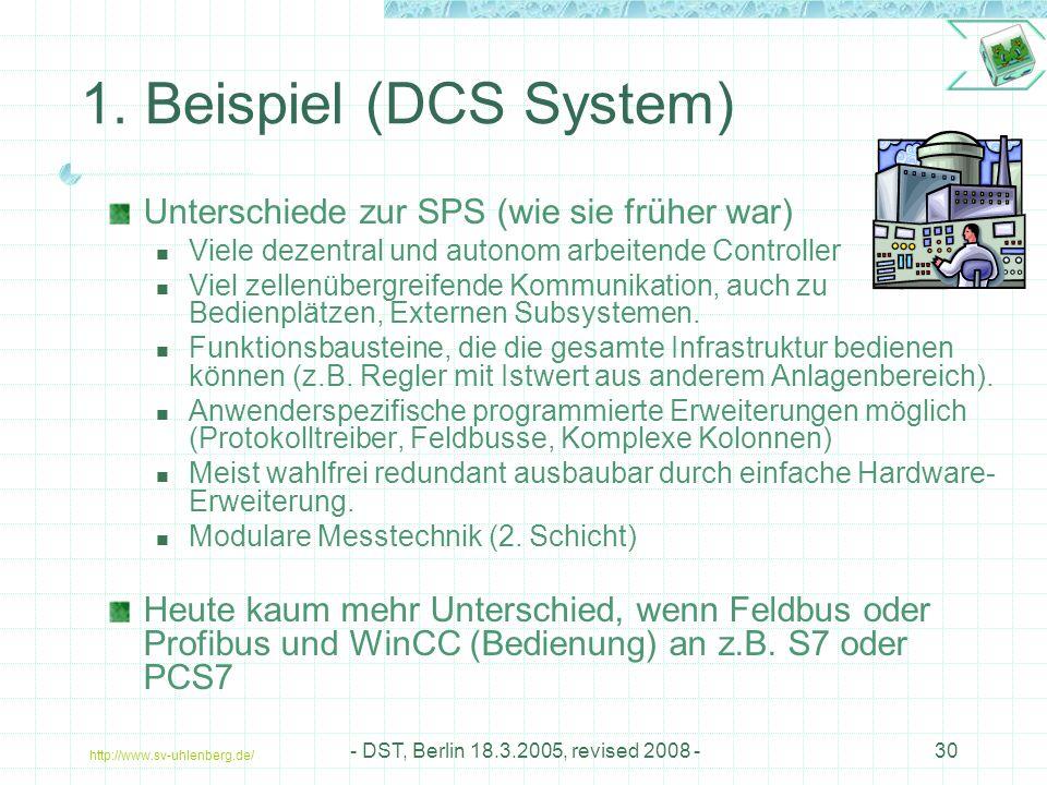 1. Beispiel (DCS System) Unterschiede zur SPS (wie sie früher war)