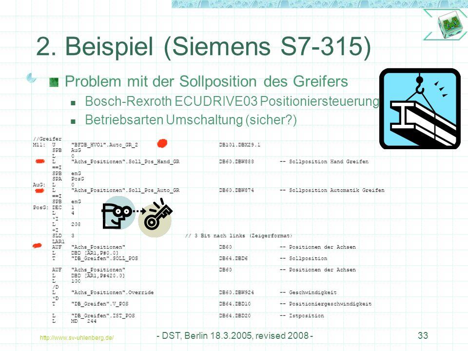2. Beispiel (Siemens S7-315) Problem mit der Sollposition des Greifers