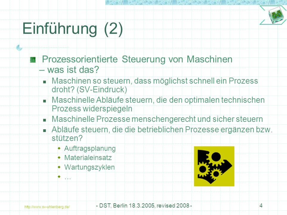 Einführung (2) Prozessorientierte Steuerung von Maschinen – was ist das