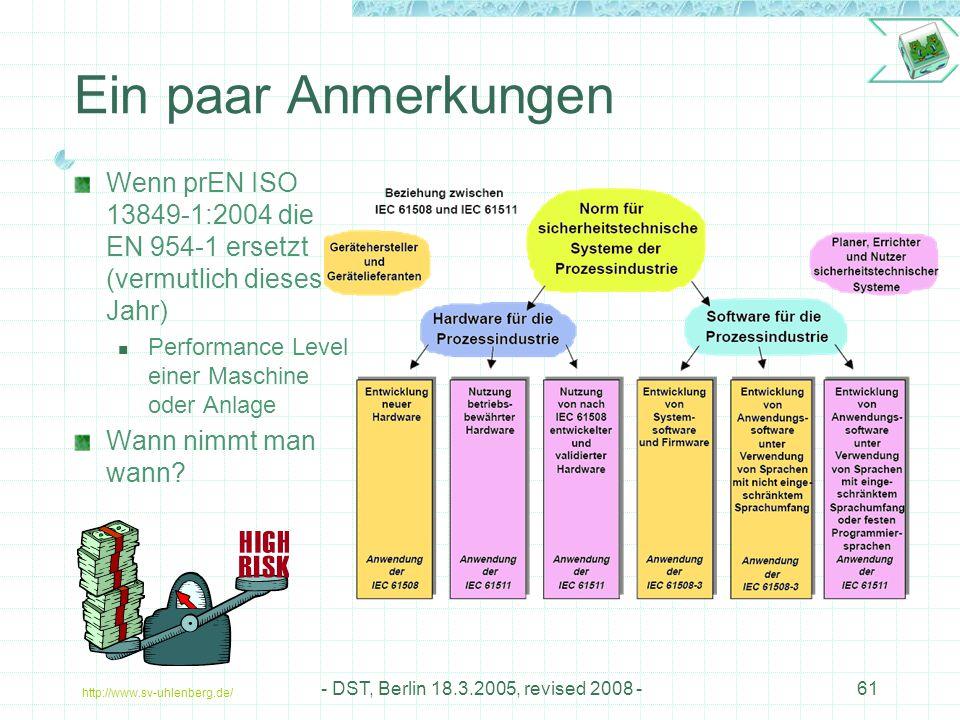 Ein paar Anmerkungen Wenn prEN ISO 13849-1:2004 die EN 954-1 ersetzt (vermutlich dieses Jahr) Performance Level einer Maschine oder Anlage.