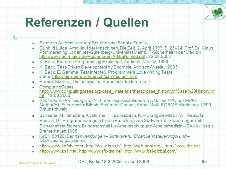 Referenzen / Quellen Siemens Automatisierung: Schriften der Simatic Familie.