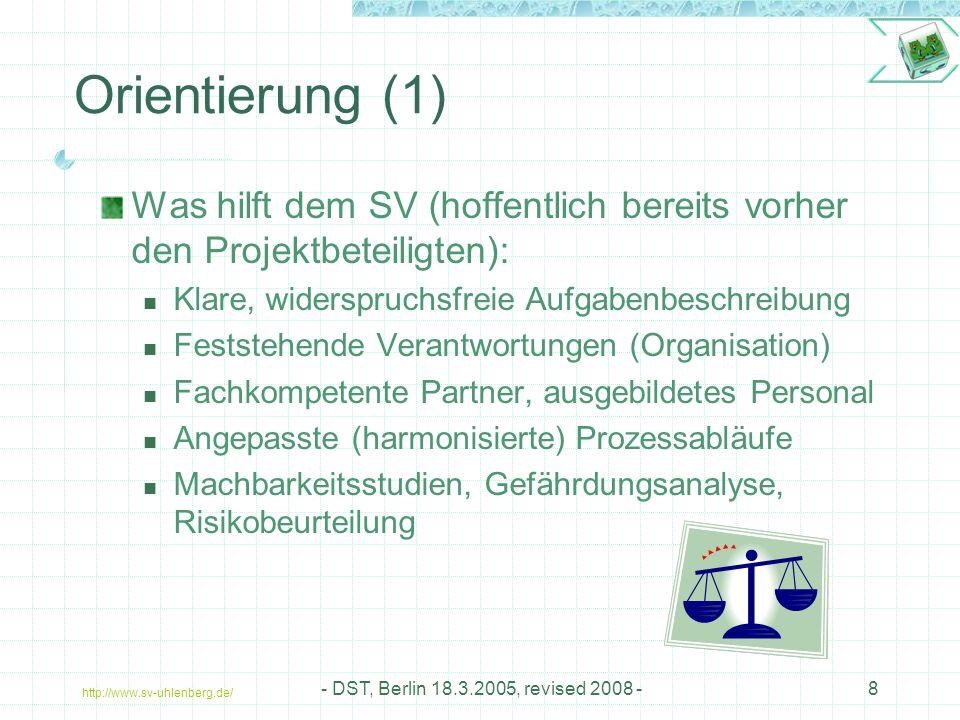 Orientierung (1) Was hilft dem SV (hoffentlich bereits vorher den Projektbeteiligten): Klare, widerspruchsfreie Aufgabenbeschreibung.