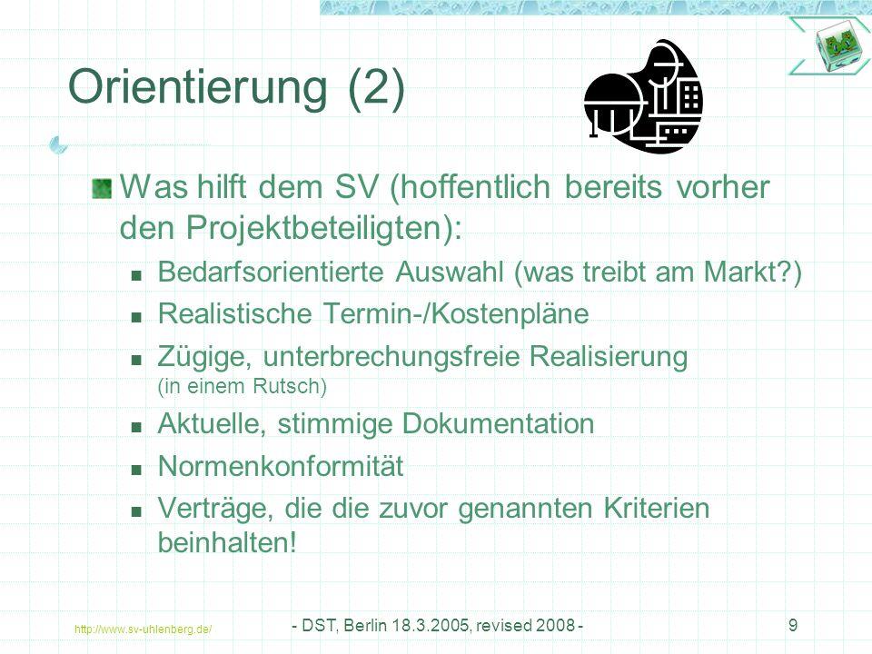Orientierung (2) Was hilft dem SV (hoffentlich bereits vorher den Projektbeteiligten): Bedarfsorientierte Auswahl (was treibt am Markt )