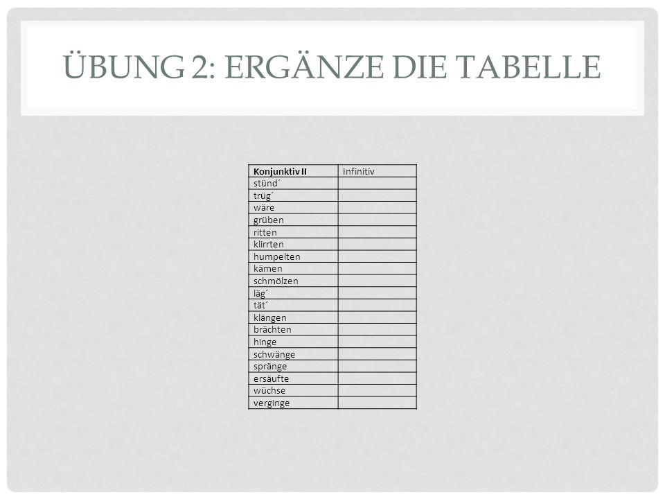 Übung 2: ERgänze die Tabelle