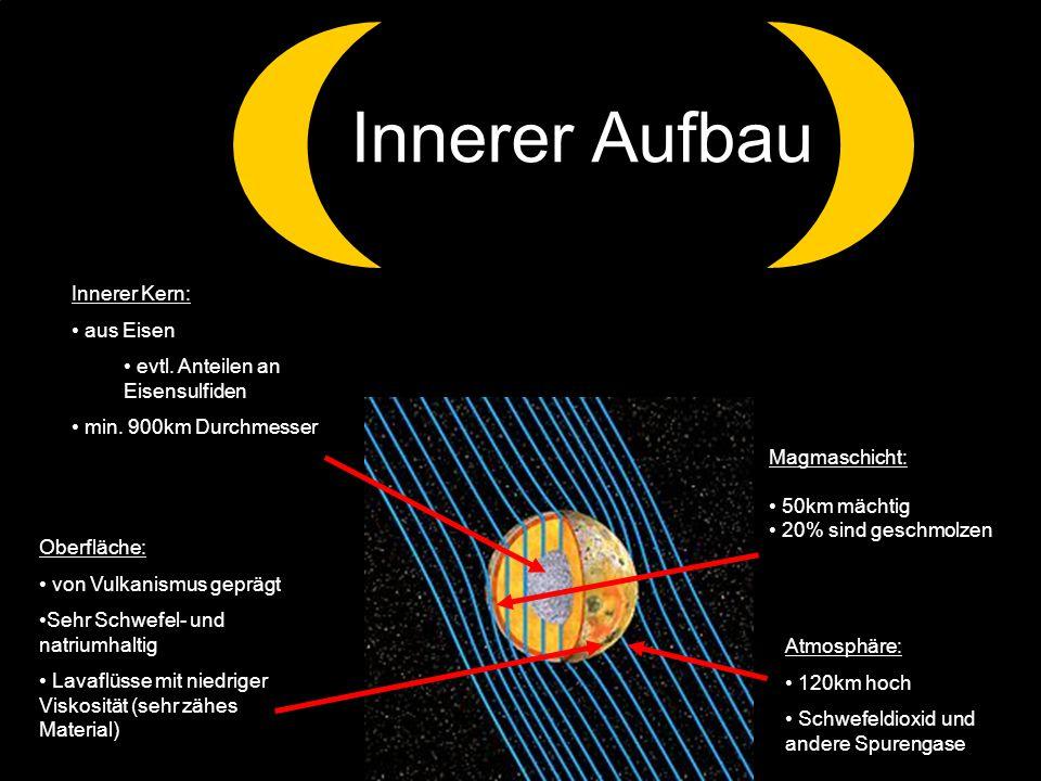 Innerer Aufbau Innerer Kern: aus Eisen. evtl. Anteilen an Eisensulfiden. min. 900km Durchmesser.