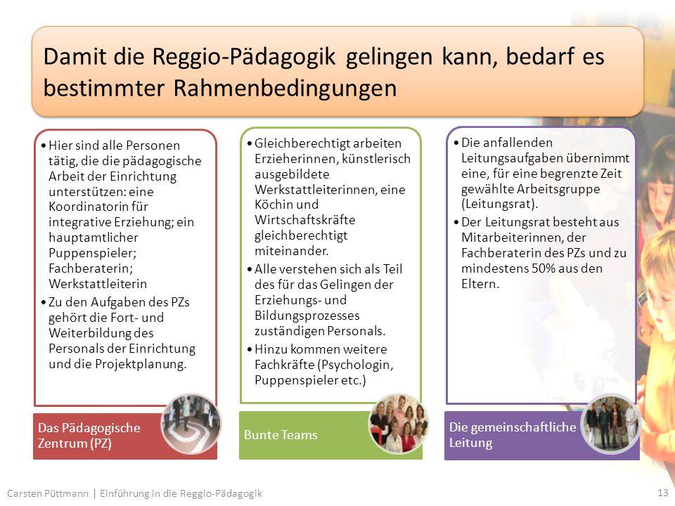 Damit die Reggio-Pädagogik gelingen kann, bedarf es bestimmter Rahmenbedingungen
