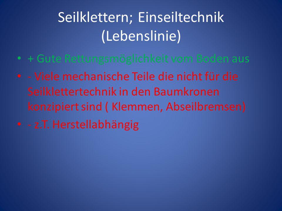 Seilklettern; Einseiltechnik (Lebenslinie)