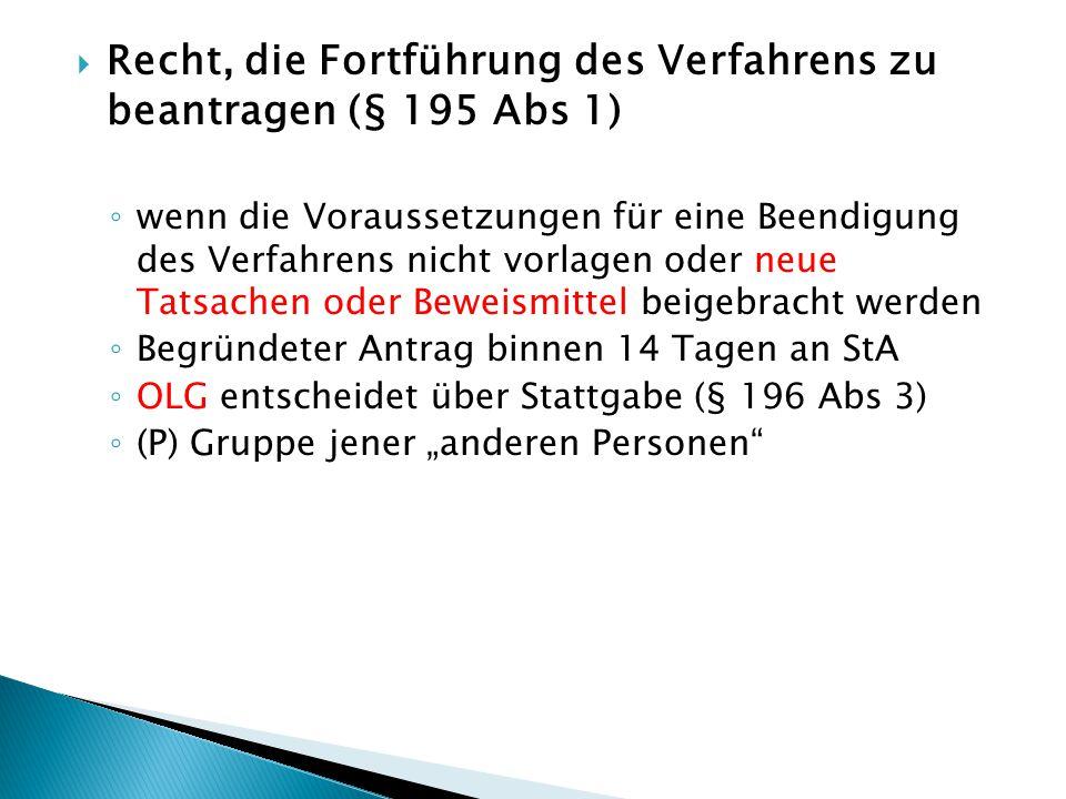 Recht, die Fortführung des Verfahrens zu beantragen (§ 195 Abs 1)