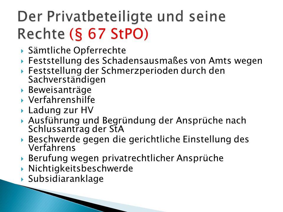Der Privatbeteiligte und seine Rechte (§ 67 StPO)