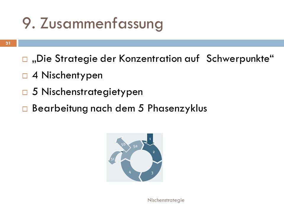 """9. Zusammenfassung """"Die Strategie der Konzentration auf Schwerpunkte"""
