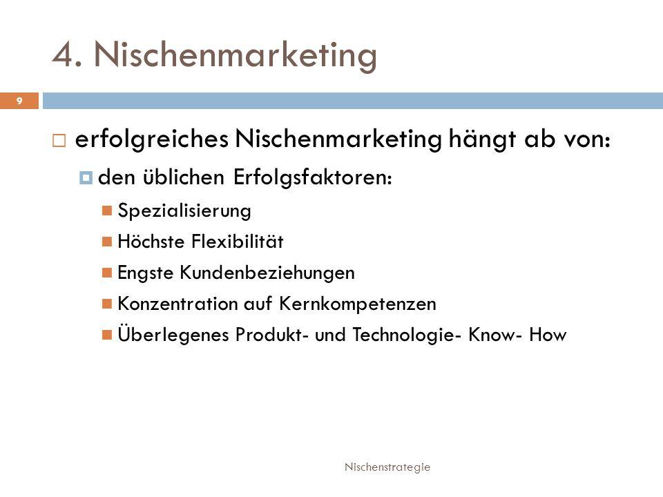 4. Nischenmarketing erfolgreiches Nischenmarketing hängt ab von: