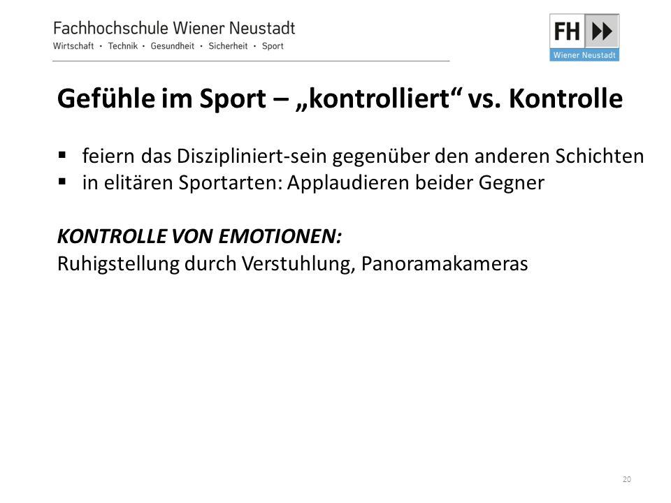 """Gefühle im Sport – """"kontrolliert vs. Kontrolle"""