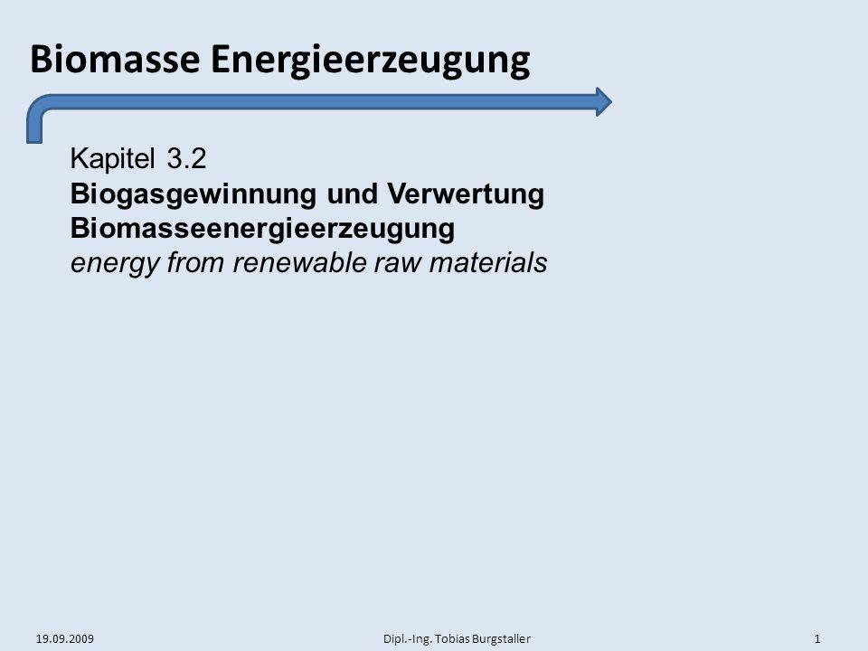 Kapitel 3.2 Biogasgewinnung und Verwertung Biomasseenergieerzeugung energy from renewable raw materials
