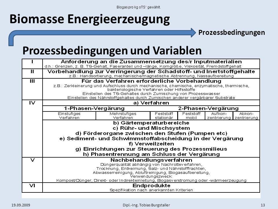 Biogas pro kg oTS gewählt.