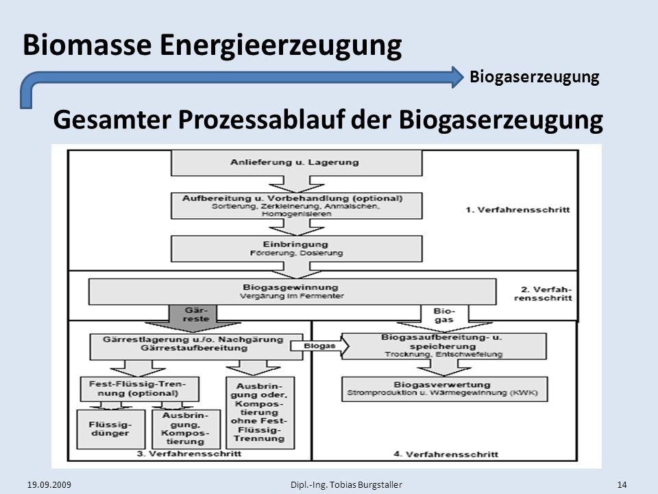 Gesamter Prozessablauf der Biogaserzeugung