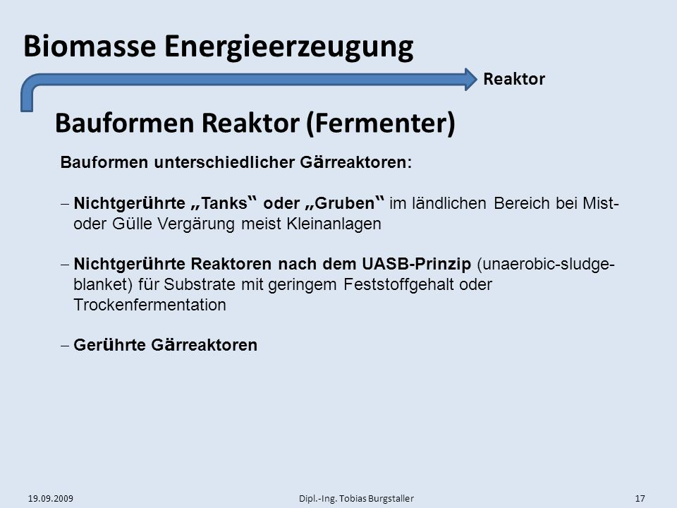Bauformen Reaktor (Fermenter)