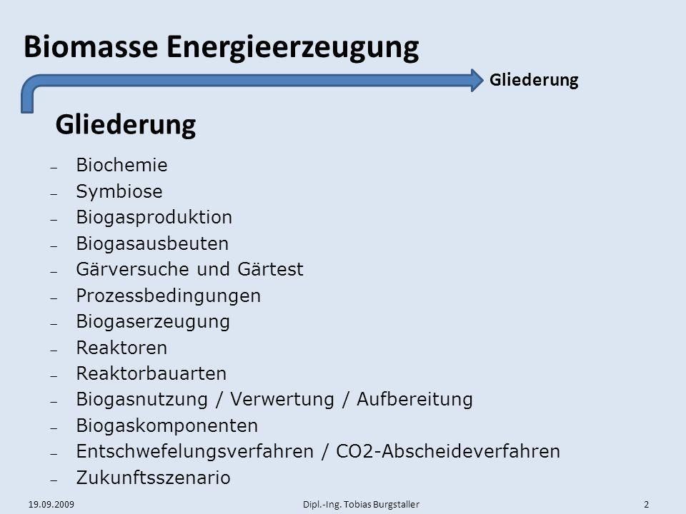 Gliederung Gliederung Biochemie Symbiose Biogasproduktion